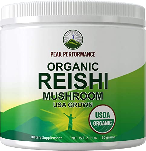 Organic Reishi Mushroom Powder USA Grown by Peak Performance. USDA Organic Vegan Mushrooms Supplement for Immunity Support. Naturally Harvested, Adaptogenic, Immune Support, Extract Blend Powders
