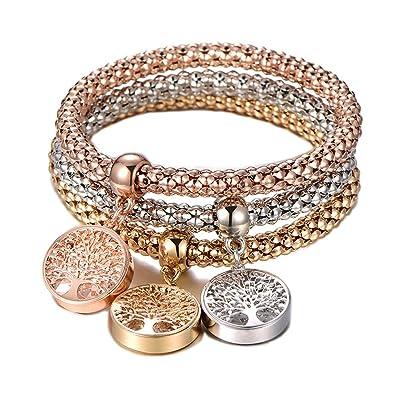 fantaisie Bijoux de famille Arbre de vie Bracelet flottant Médaillon Charms  3 couches Maïs Chaîne Bracelets