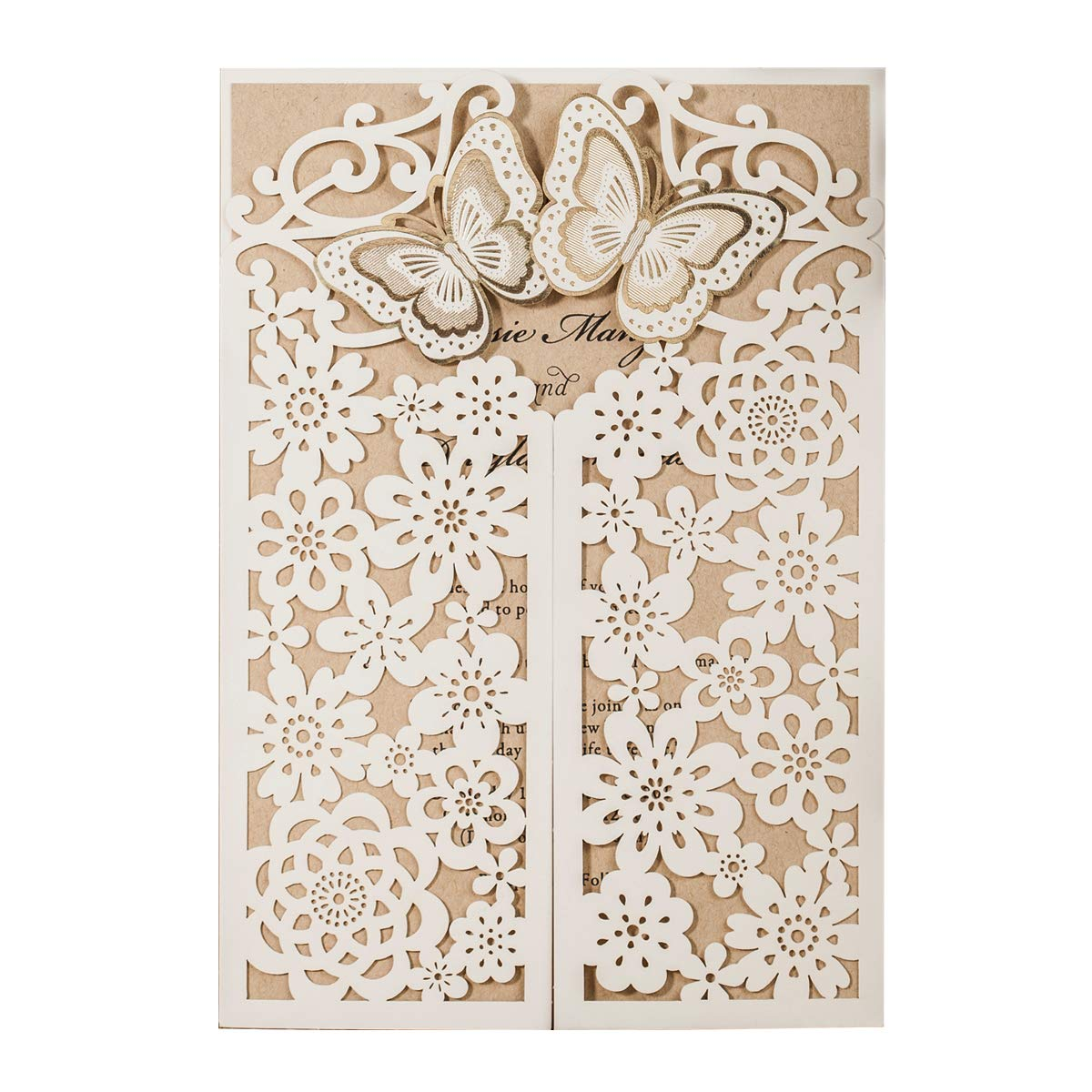 WISHMADE 50 Wedding Invitation Cards Laser Cut Floral Butterfly Card Stock White with Envelopes, Stickers for Engagement,Baby Shower, Birthday Party