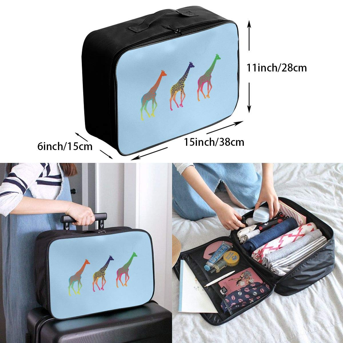 Giraffe Travel Luggage Storage Bag Duffel Bag Handle Makeup Bag Fashion Lightweight Large Capacity Portable Luggage Bag