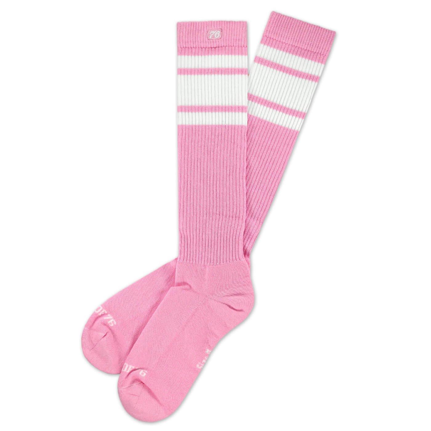 Hohe Retro Socken mit Streifen Pink stylische Unisex Kniestr/ümpfe Spirit of 76 Bubblegum Hi HERITAGE Edition kniehoch Wei/ß gestreift