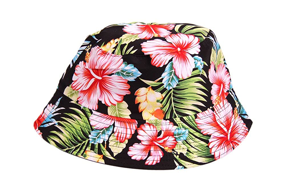 IMTD Ladies Celebrity Boho Retro Floral Print Design Bucket Sun Fashion Beanie Hat Beach Holiday Summer