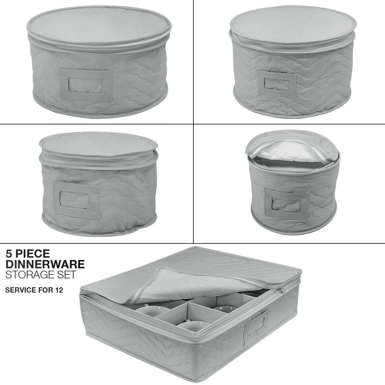 Sorbus Dinnerware Storage 5-Piece Set for Protecting or Transporting Dinnerware — Service for 12 — Round Plate and Cup Quilted Protection, Felt Protectors for Plates, Fine China Case (Gray) by Sorbus (Image #6)