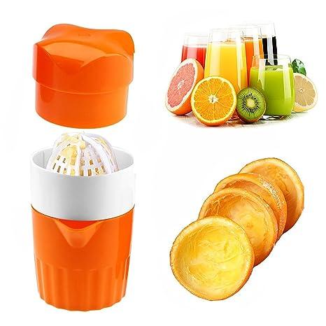 Erlove Exprimidor de Mano Portátil Exprimidor de Naranjas Cítricas, Recipiente de Jugo y Recipiente,