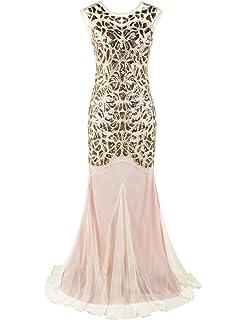 PrettyGuide Women  s 1920s Black Sequin Gatsby Maxi Long Evening Prom Dress 57c724972