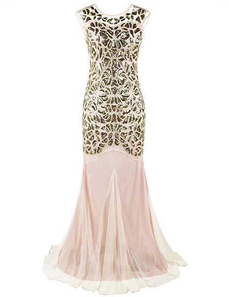 9a33da764fd5 PrettyGuide Donne 1920s Nero Paillettes Gatsby Maxi Lungo Prom Vestito da  Sera  Amazon.it  Abbigliamento