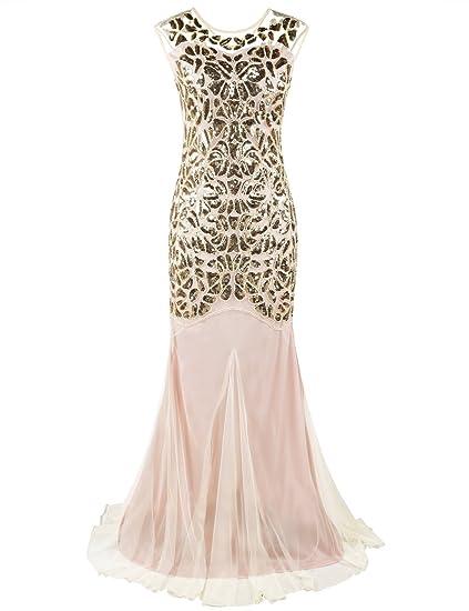da6bd01afd4653 PrettyGuide Women's 1920s Sequin Gatsby Flapper Formal Mermaid Evening Dress  XS Gold Beige