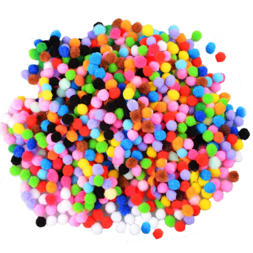 50 x Small Pom Poms Craft 10mm 1cm Fluffy Plush soft balls UK Seller