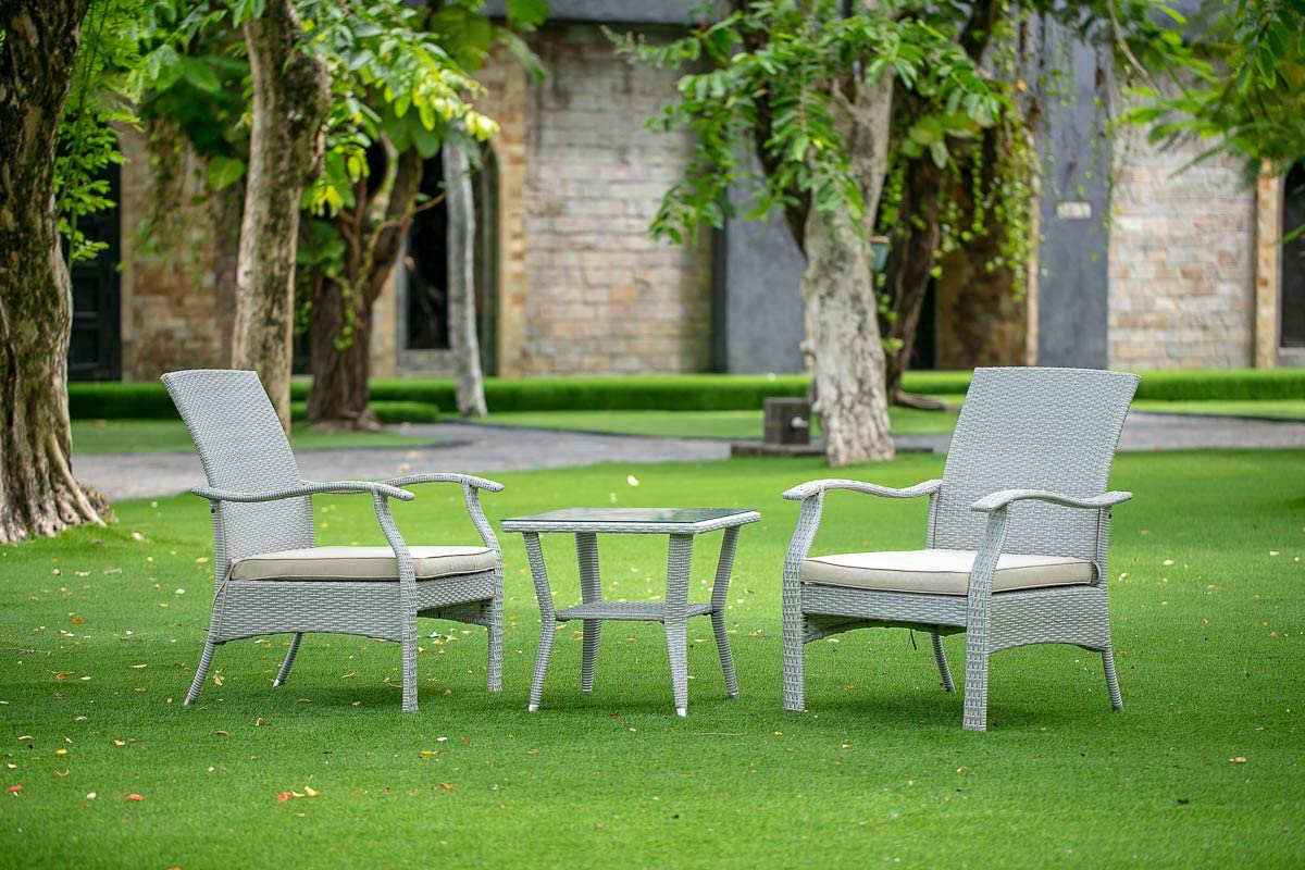 East West Furniture 3Pc Outdoor Natural Color Wicker Dining Set Includes a Patio Tea Table and 2 Balcony Backyard Armchair with Linen Fabric Cushion
