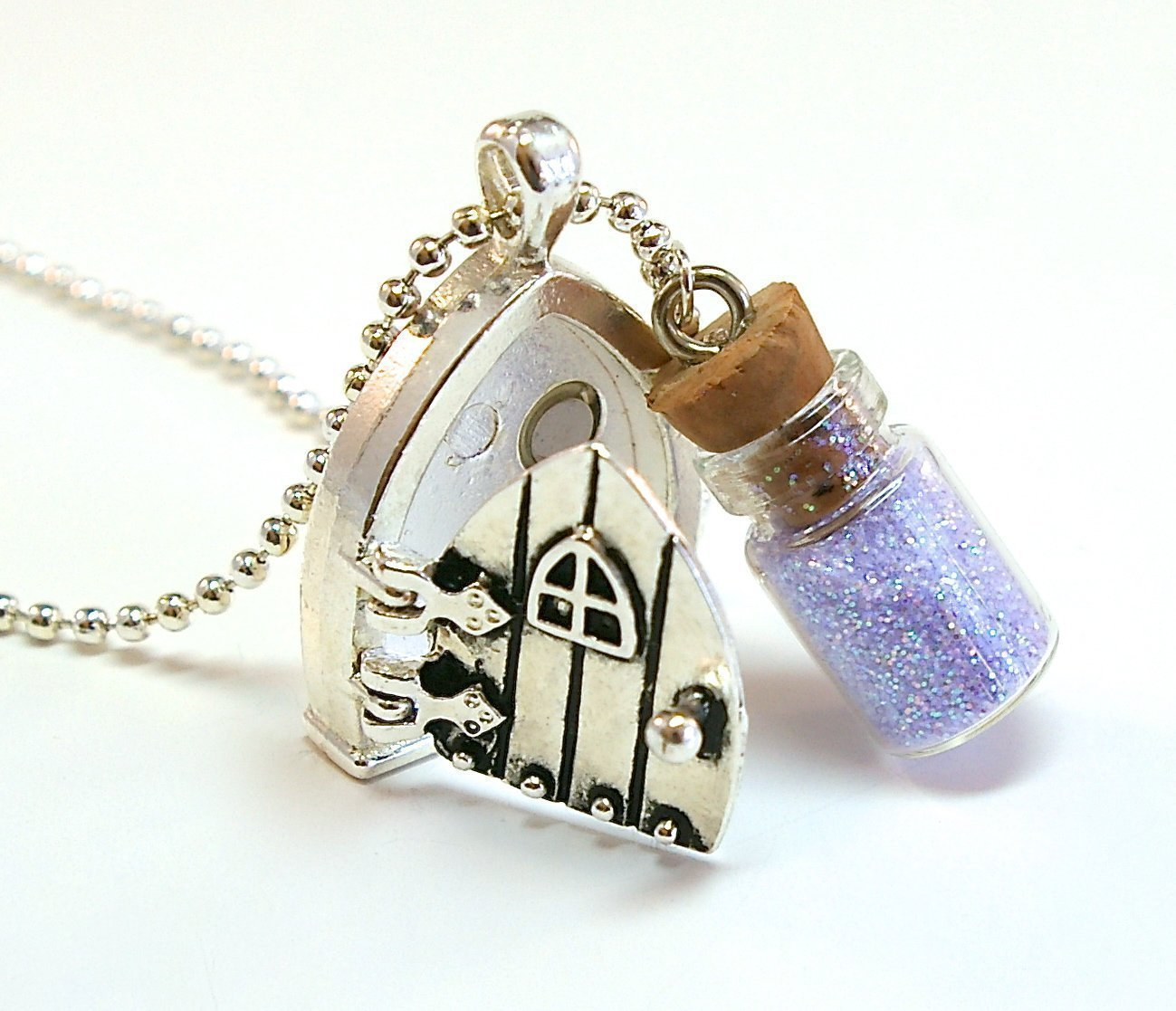Amazon.com Fairy Wish Door Locket Necklace with Mini Bottle of Pixie Stardust and Magical Saying Handmade : door charm - Pezcame.Com