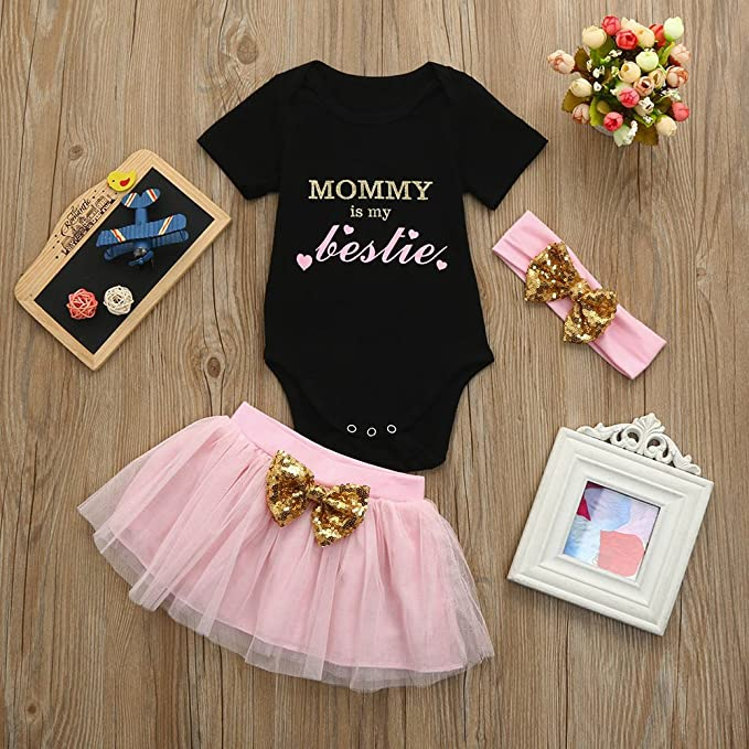b3cdbfab9e5 Amazon.com  Tanhangguan 3Pcs Baby Girl Clothes Mommy is My Bestie Letter  Print Romper and Tutu Skirt and Headband Outfits  Clothing