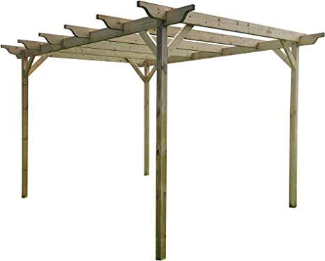 Estructura de madera jardín pérgola 4, 8 m x 4, 8 m – 6 ...