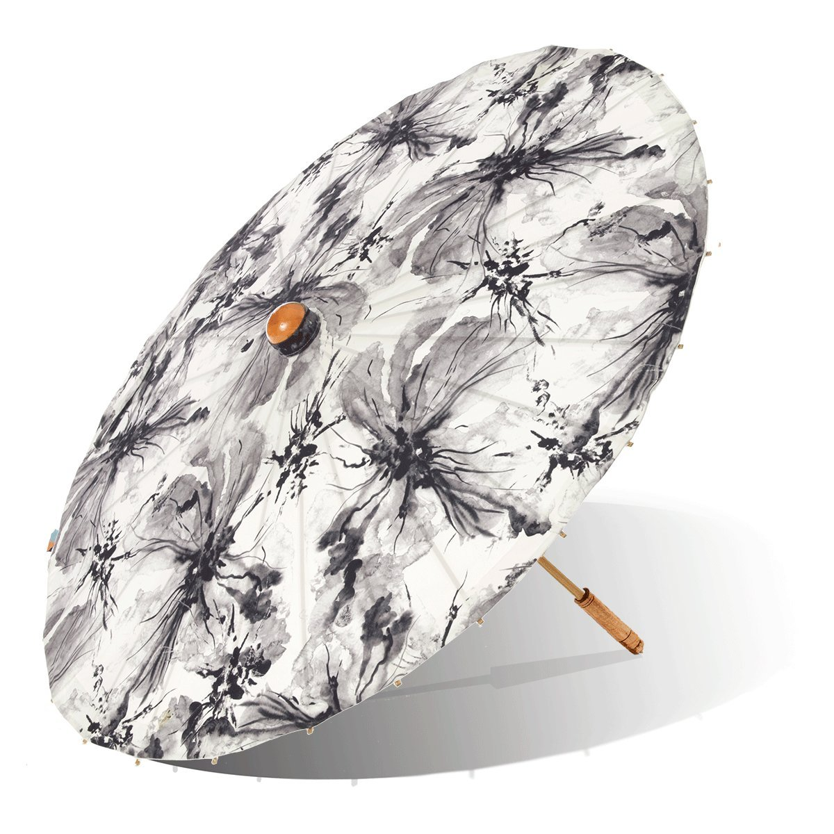 Lily-Lark Ink Wash Flowers UV protection sun parasol, rated UPF 50+ by Lily-Lark