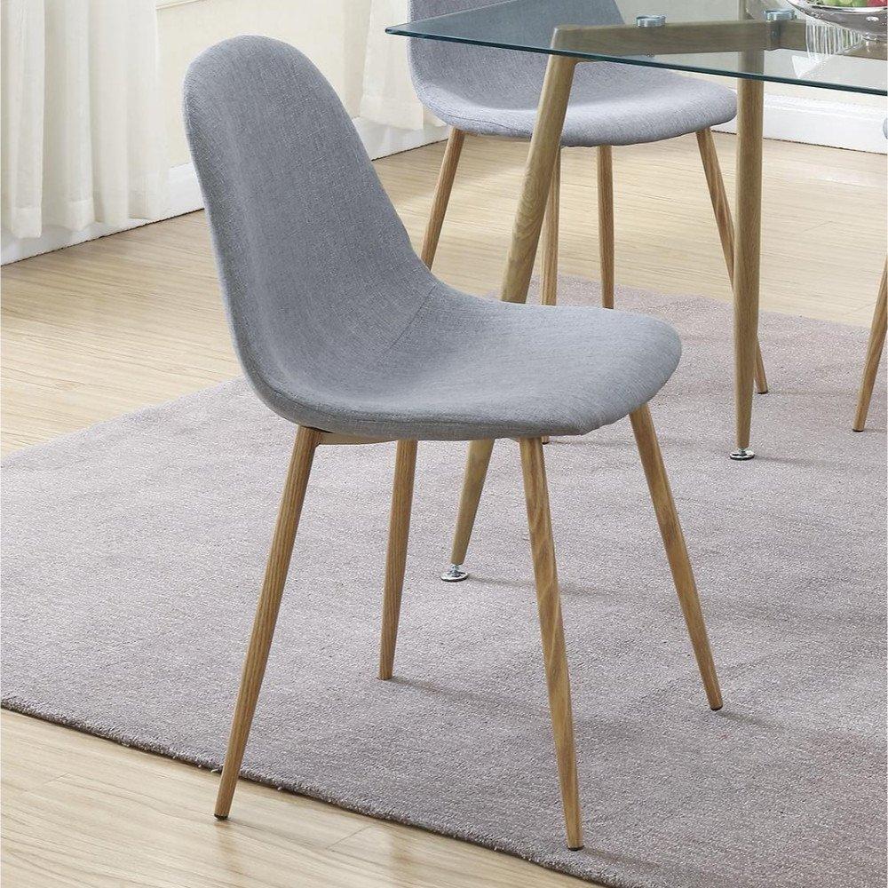 Gray//Brown Benzara BM171556 Metal Frame Dining Chair Set of 4