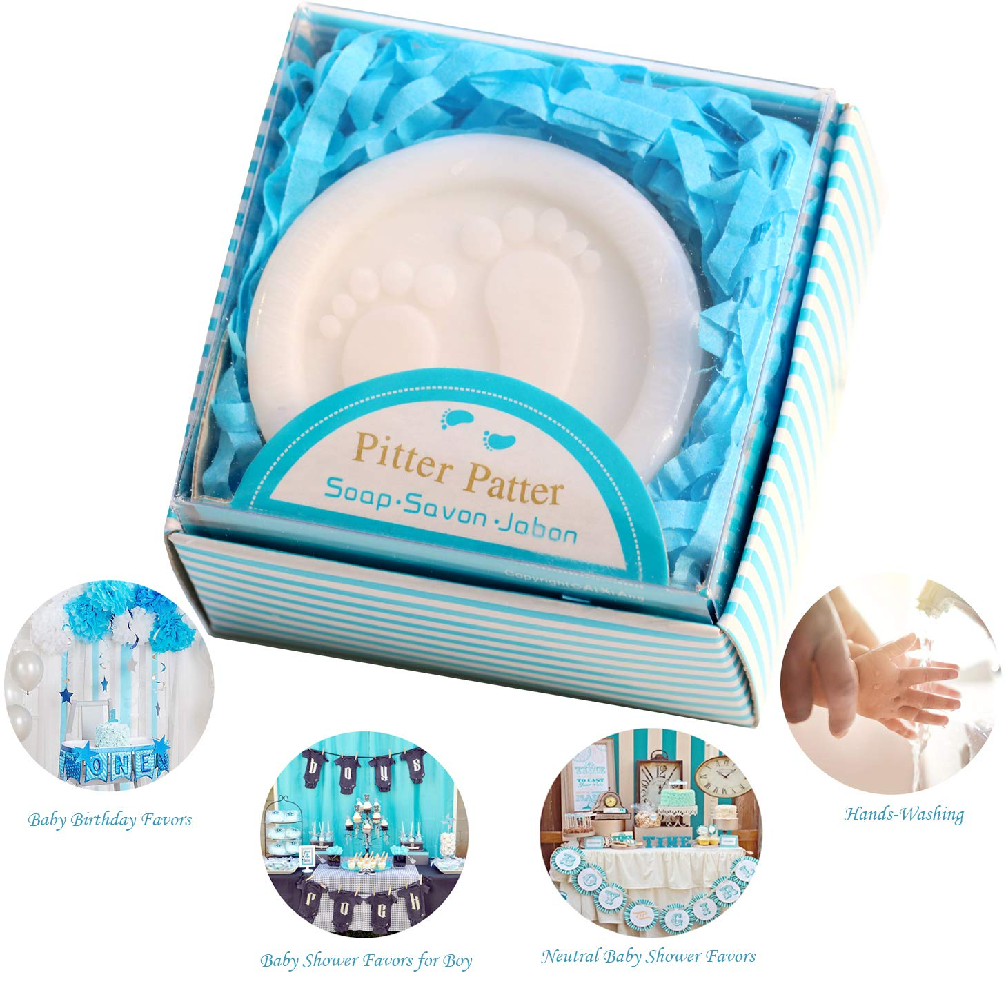Cutest Handmade Blue Pitter Patter Soap Favors Exquisite Gift Packaging for Baby Boy Baby Shower Favors 24 Pack
