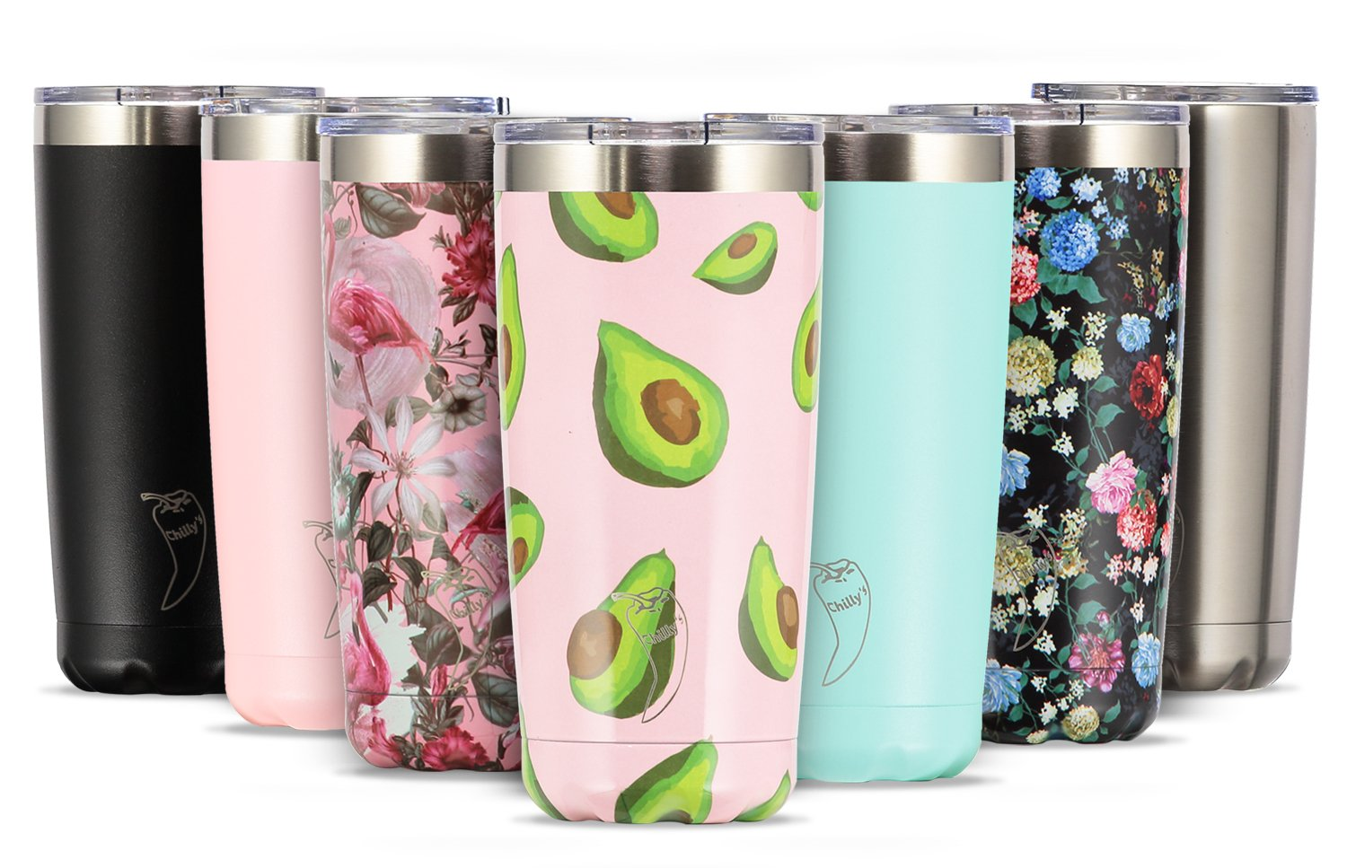 Chilly's Tumbler | Thermos Made With Stainless Steel | Double-Walled Container | Insulated for Hot or Cold Drink Storage | Reusable and Earth Friendly | Comes With a Lid | 500ml Chillys CHILLY086