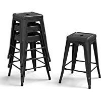 Bonzy Home Bar Stools Set of 4, 24 inches Metal Bar Stool Chair, Stackable Counter Height Barstools, Farmhouse Barstool for Kitchen and Outdoor Patio Furniture