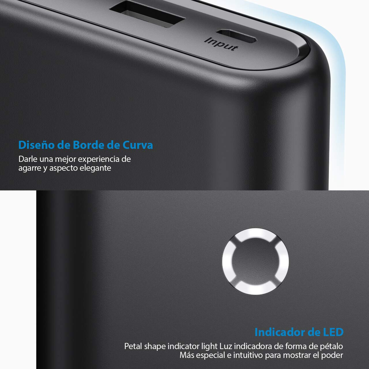 POWERADD Energy Cell Power Bank 20000mAh Cargador Móvil Portátil Batería Externa con 2 Salida USB para iPhone 11, iPad, Samsung, Huawei, Xiaomi Redmi Note 7 y más-Negro
