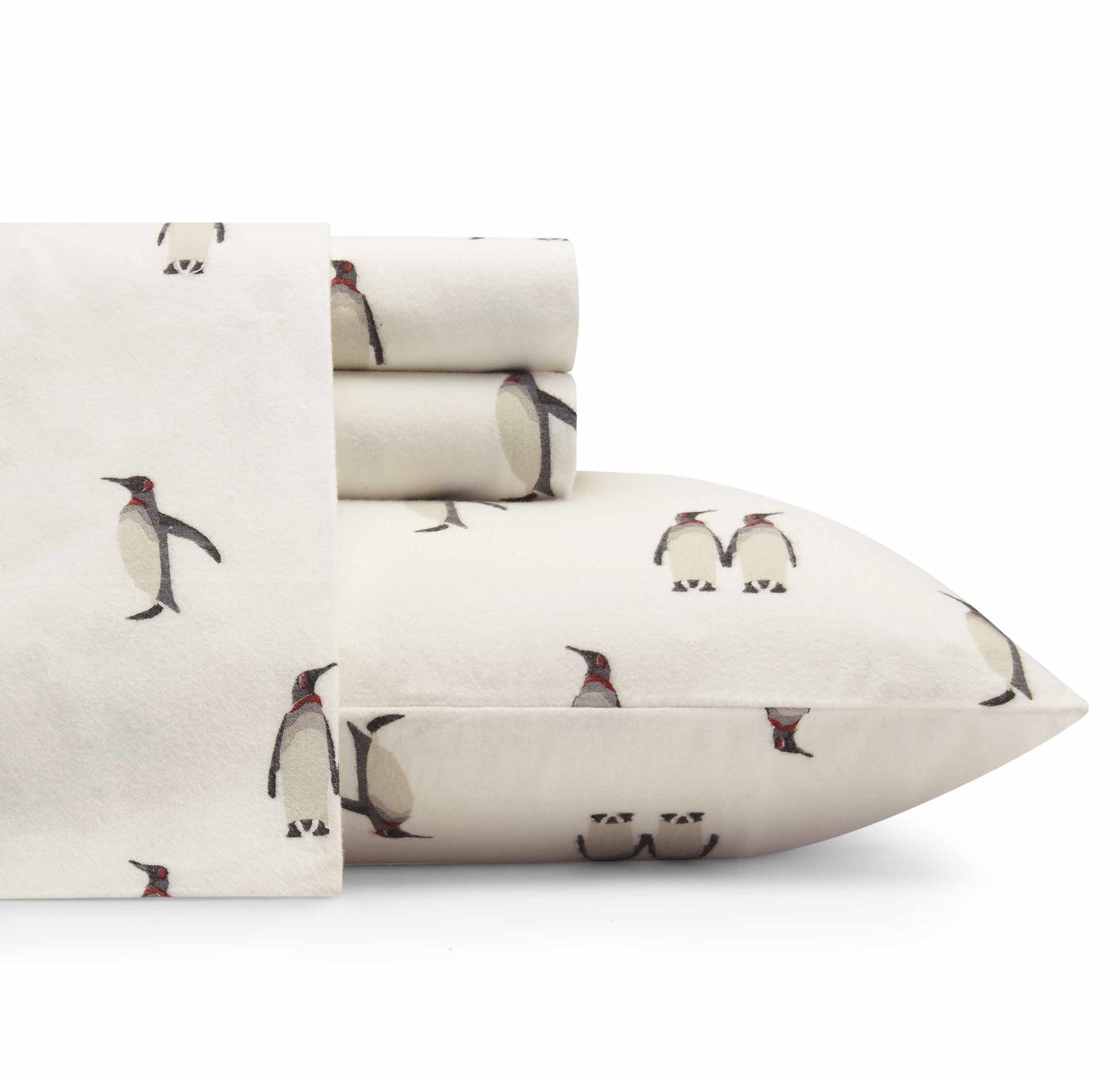 3 Piece White Twin Penguin Themed Deep Pocket Flannel Sheet Set, Off White Animal Pattern Winter Sea Themed All Over Printed Teen Bedding Kids Bedroom Luxurious Colorful, Cotton Flannel