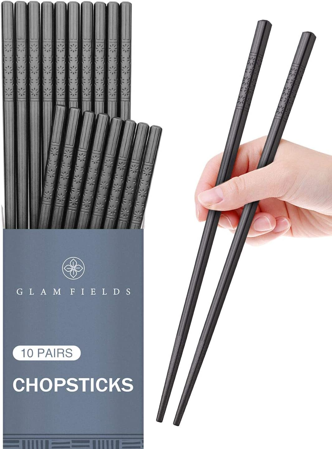 10 Pairs Fiberglass Alloy Chopsticks, GLAMFIELDS Reusable Japanese Chinese Korean Chop sticks Dishwasher Safe, Non-slip, 9 1/2 inches