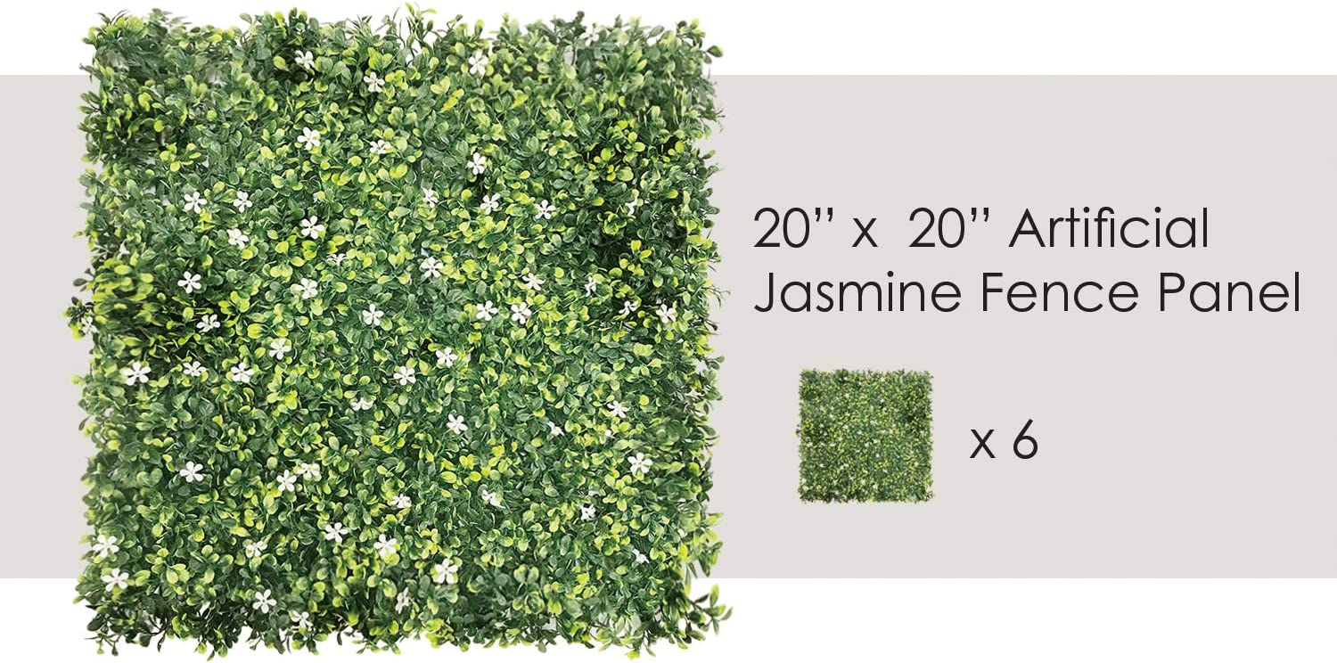 """ECOOPTS 20"""" x 20"""" Artificial Boxwood Panel Garden Privacy Ivy Fence Faux Greenery Lattice Panels Wall Decor for Outdor Indoor Backyard Decoration, Jasmine 6 Pack"""