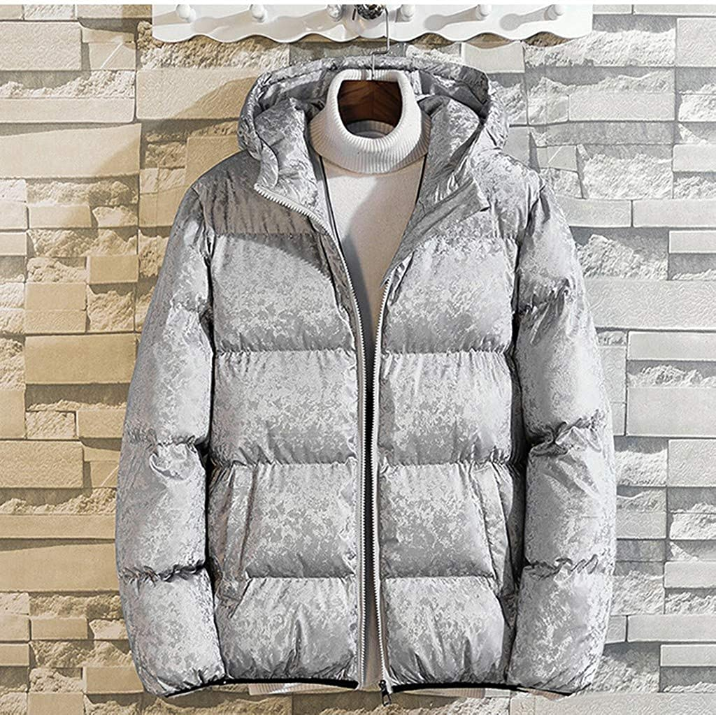 Wofupowga Mens Padded Winter Slim Removable Hood Outdoor Puffer Parkas Coats