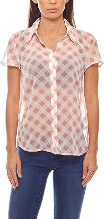 Camisa de chifón a Cuadros Blusa de Manga Corta para Mujer Rosa Clase Internacional, tamaño:34: Amazon.es: Ropa y accesorios