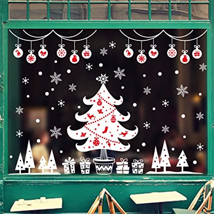 window glass stickers christmas decorations shopping malls clothing shop happy tree snowman snowflake windows door - Window And Door Christmas Decorations