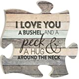 Amazon Price History for:I Love You a Bushel and a Peck Wood Look 12 x 12 inch Wood Puzzle Piece Wall Sign Plaque