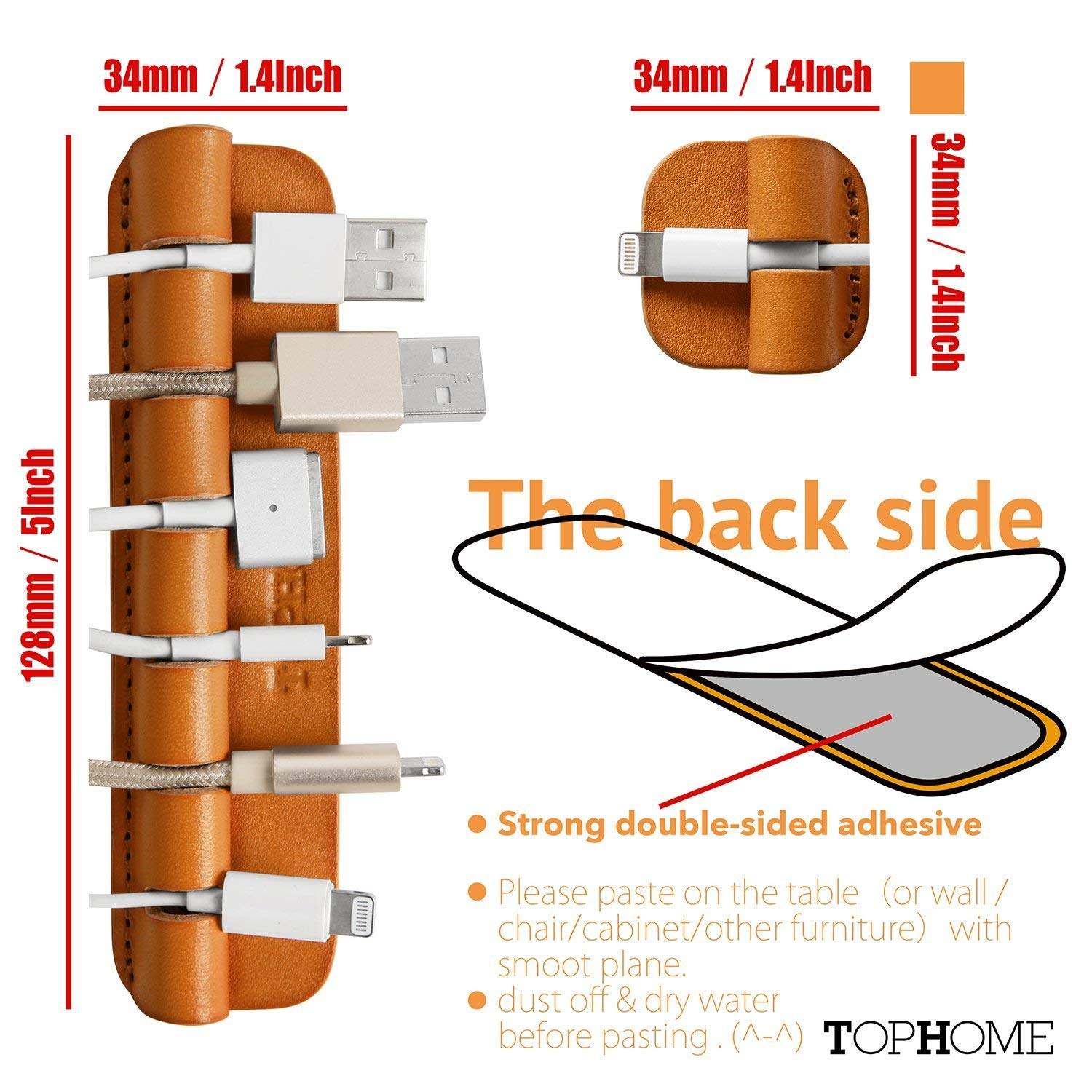 TOPHOME Multifunction Cable Organizer Cord Management Wire Management System Self Adhesive Genuine Leather USB Cable Clips 3 Pieces Orange by TOPHOME (Image #4)