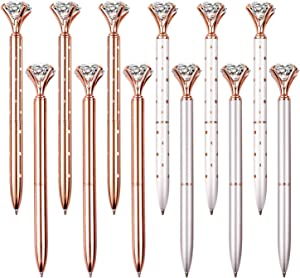 12 PCS Diamond Pen With Big Crystal Bling Metal Ballpoint Pen, Office Supplies And School, Rose Gold/White Rose Polka Dot/Silver/Rose Gold With White Polka Dots, Includes 12 Pen Refills