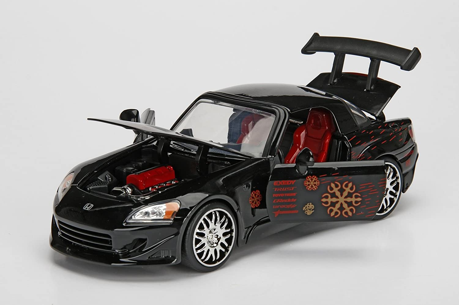 Jada Toys The Fast The Furious Movie 1 Johnny Tran\'s 2000 Honda S2000 diecast Collectible Toy Vehicle car 1 24 Scale Black with Decal
