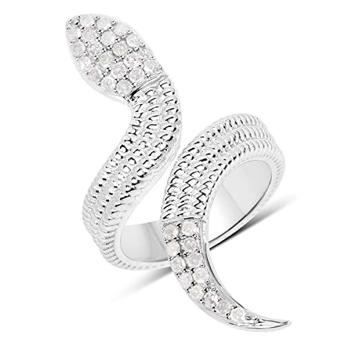 Huang and Co. Snake Ring 0.46 Carat Genuine White Diamond .925 Sterling Silver