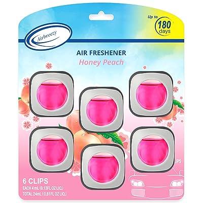 Airbreezy Honey Peach Car Air Freshener Clip, 6 Car Freshener Vent Clips, 4ml Each, Long Lasting Air Freshener for Car, Up to 180 Days Car Refresher Odor Eliminator: Automotive