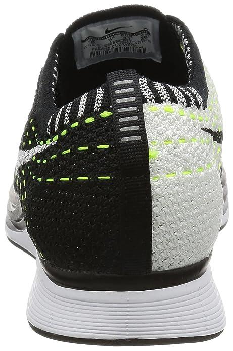Amazon.com   Nike Unisex Flyknit Racer Running Shoe (5 D(M) US, Black/White-White)   Road Running