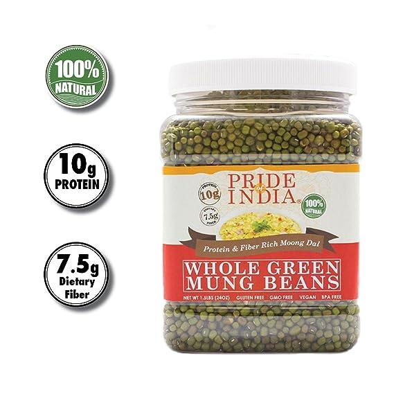 Pride Of India -Whole Mung verde Gram - 1,5 lbs (680 g) Jar ...