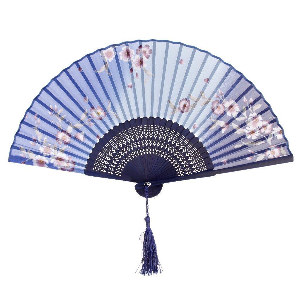Amoy.B Blanco lechoso Ventilador de Ventilador de Dos v/ías Fan de la Danza de Doble Cara Ventilador Plegable en Blanco Normal 1