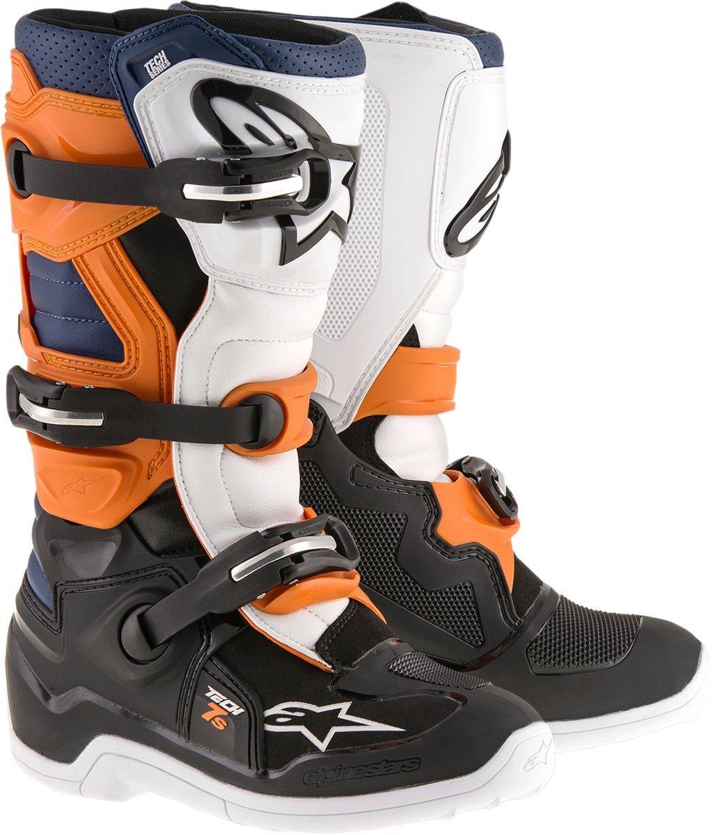 Alpinestars Unisex-Child Tech 7S Youth Boots (Black/Orange/Blue, Size 3)