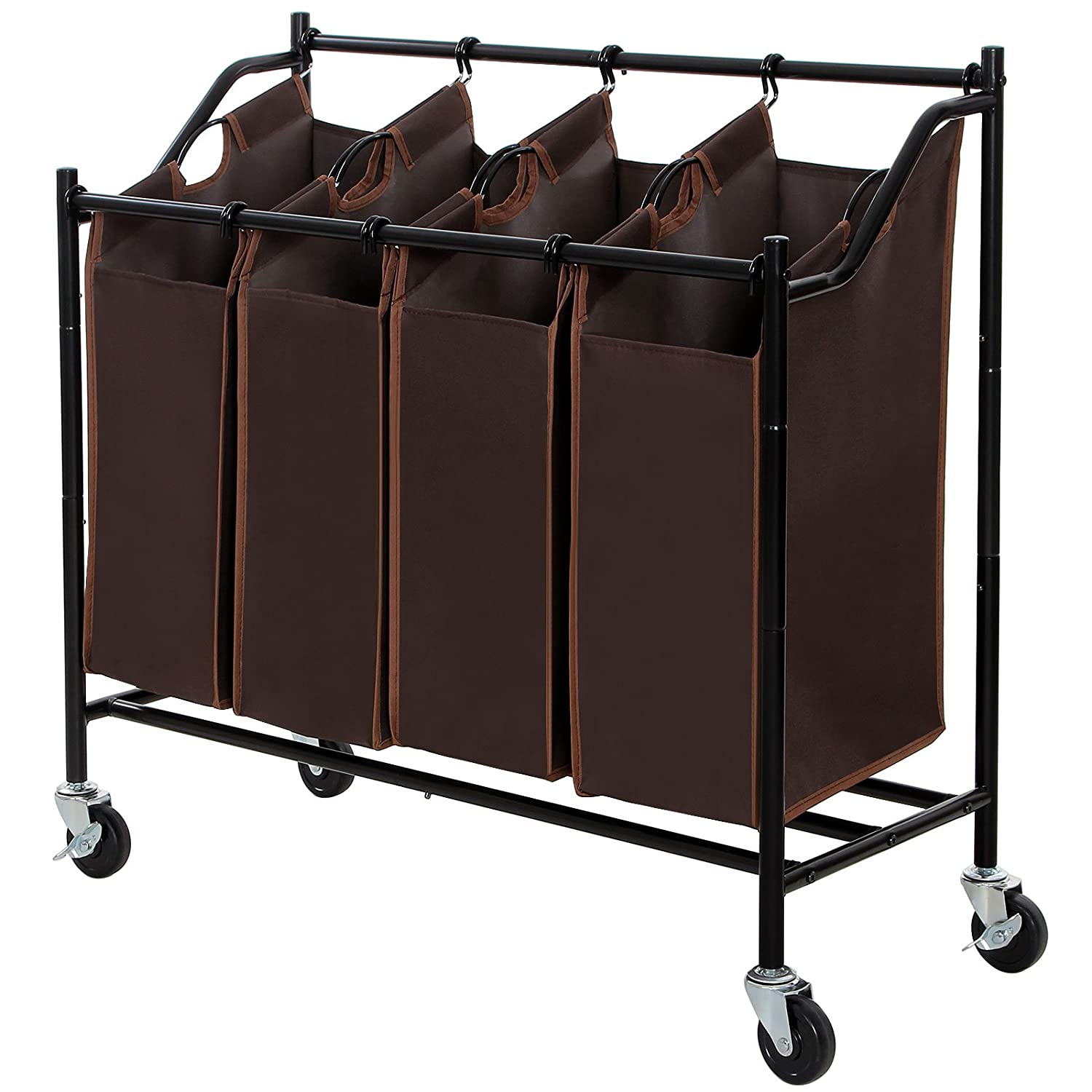 SONGMICS 4-Bag Rolling Laundry Sorter Cart Heavy-Duty Sorting Hamper W'Brake Casters Brown URLS90Z