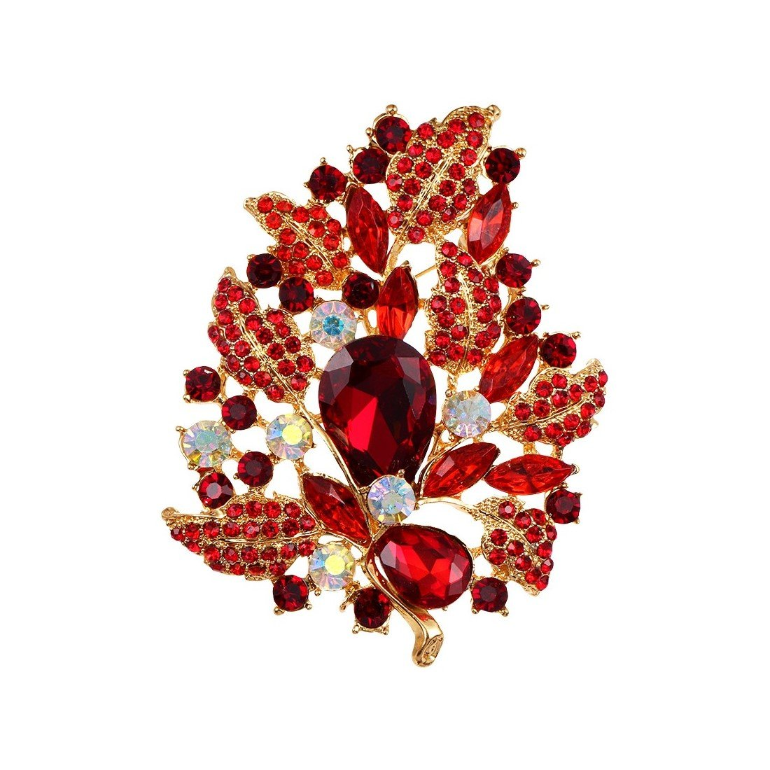 WeimanJewelry Gold Plated Large Rhinestone Glass Crystal Wedding Flower Leaf Bouquet Brooch Pin for Women (Red)