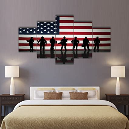 Superieur Wall Decor Painting On Canvas Police Pictures For Living Room Military  Posters And Prints Silhouetteu0027s In