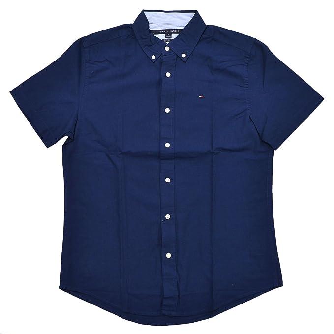 970288ba Tommy Hilfiger Mens Custom Fit Short Sleeve Buttondown Shirt: Amazon.co.uk:  Clothing