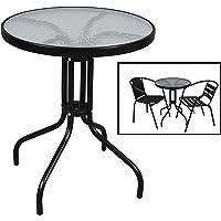 Mesa con Base de Metal y Cristal Ideal