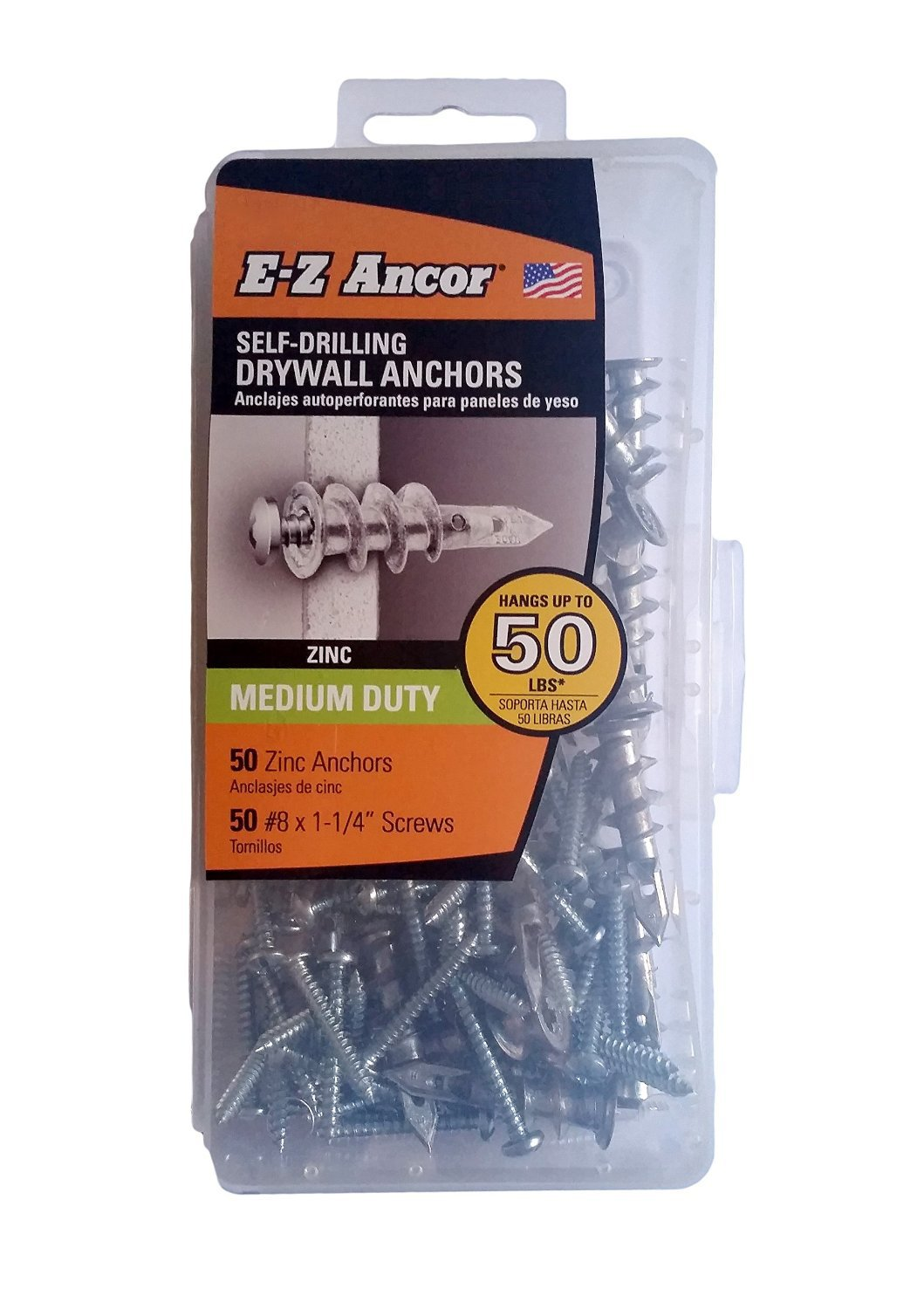 E-Z Ancor kit, 50 Zinc Self Drilling Drywall Anchors with 50 Phillip Screws #8 x 1-1/4
