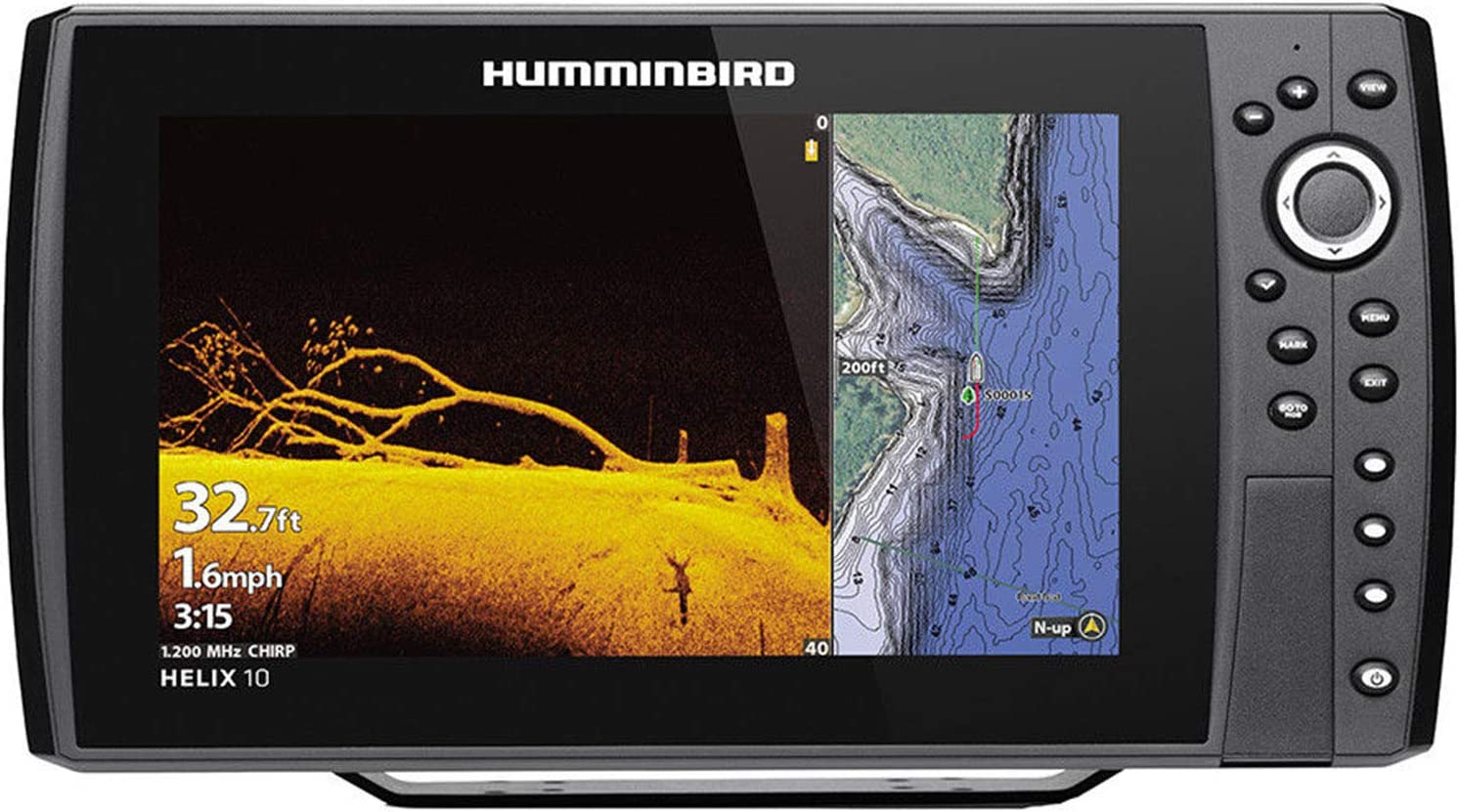 Humminbird Helix 10 Chirp MEGA DI+ GPS G3N CHO Fishfinder with Bluetooth & Ethernet, Black HUM-410880-1CHO