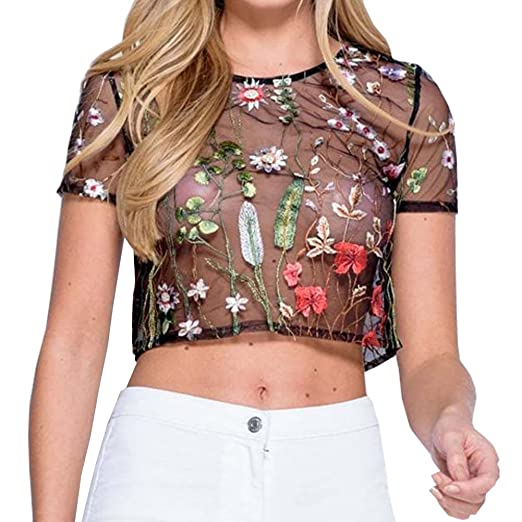cf8c0229434ef7 Cresay Women s Short Sleeve Floral Embroidered Transparent Crop Tops Blouse  at Amazon Women s Clothing store