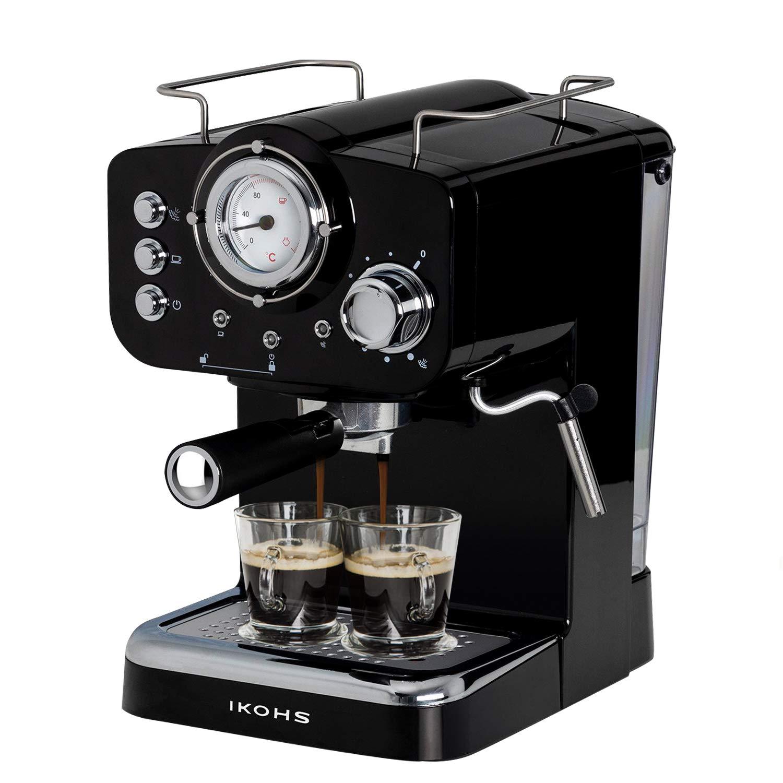 IKOHS THERA Retro - Cafetera Express para Espresso y Cappucino, 1100W, 15 Bares, Vaporizador Orientable, Capacidad 1.25l, Café Molido y Monodosis, con Doble Salida, Color Negro