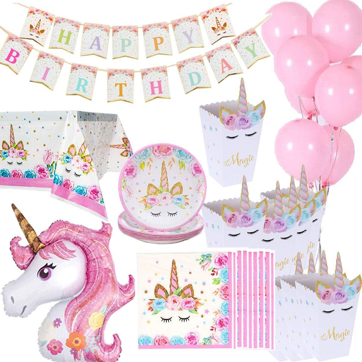 Decoraciones De Cumpleaños Unicornio Vajilla, 16 cajas de palomitas de maíz, 16 platos, 16 servilletas, 1 mantel, 1 pancarta de feliz cumpleaños, 1 unicornio de gran tamaño, 10 globos rosados: Amazon.es: Juguetes y juegos