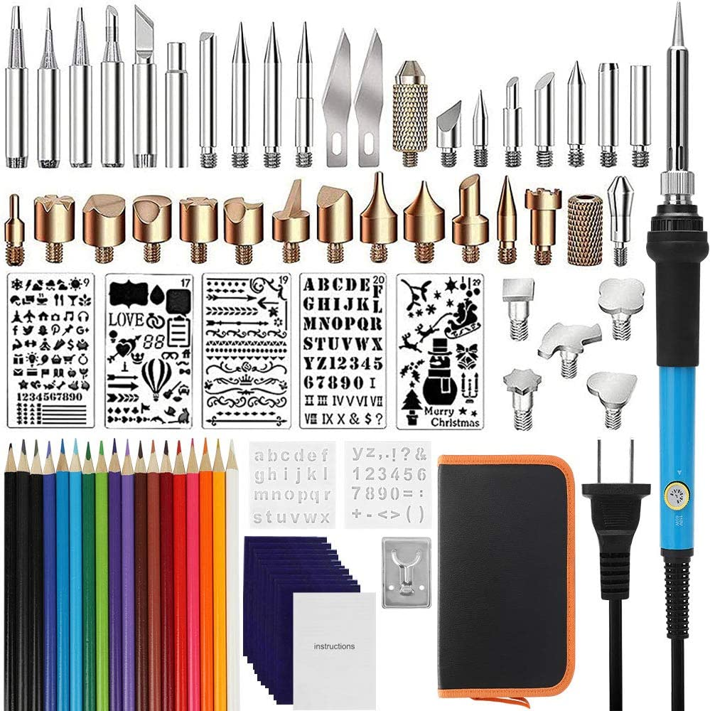 yazi 71PCS Wood Burning Kit 18 Pencils Stand Pyrography Set with Adjustable Temperature Pyrography Pen Soldering Iron Tools Set,35 Woodburning Tips Carry Case for WoodCarving//Embossing//Soldering 7 Stencils