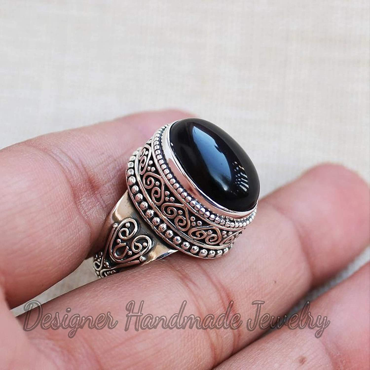 7.3 Gms Natural Black Onyx Gemstone Ring Beautiful Faceted Gemstone Jewelry 925 Silver Overlay Ring German SILVER RING SM61